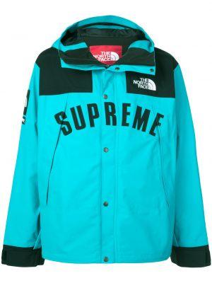Nylon niebieski z rękawami kurtka z kapturem z kapturem Supreme