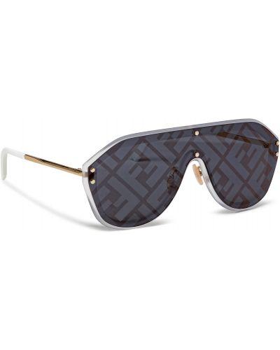 Białe okulary srebrne Fendi