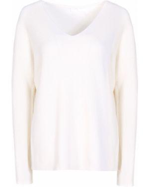 Белый шерстяной джемпер свободного кроя с V-образным вырезом Hugo Boss