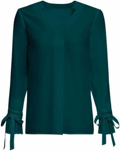 Плиссированная зеленая блузка с V-образным вырезом Bonprix