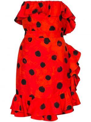 Приталенное красное платье мини без бретелек Moschino