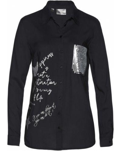Блузка с пайетками с вырезом Bonprix