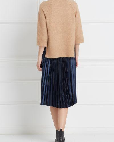 Плиссированная юбка кожаная классическая Mo&co