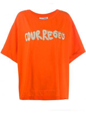 Pomarańczowa t-shirt krótki rękaw Courreges