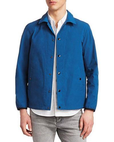 Niebieska długa kurtka z nylonu z długimi rękawami Rag & Bone