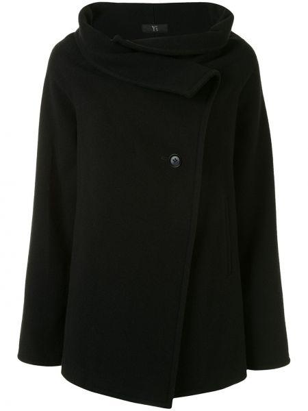 Шерстяное черное длинное пальто с воротником Yohji Yamamoto Pre-owned
