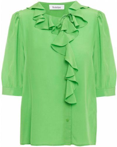 Zielona bluzka asymetryczna asymetryczna z jedwabiu Rodebjer
