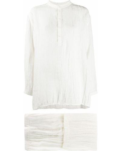 Свободный белый брючный костюм оверсайз Jil Sander