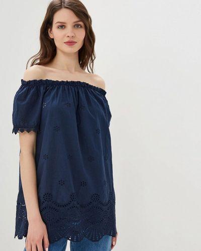 Блузка с открытыми плечами синяя весенний Perfect J
