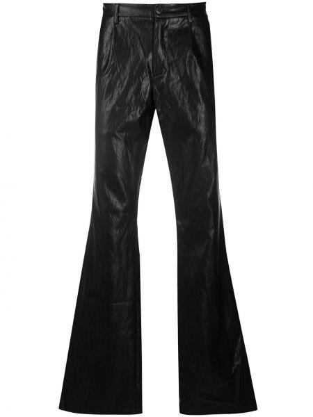 Czarne spodnie skorzane z paskiem Misbhv