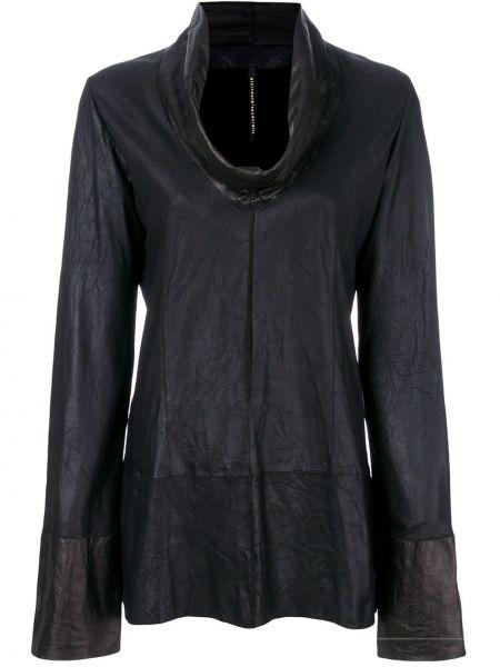 Прямой кожаный черный топ с драпировкой Olsthoorn Vanderwilt