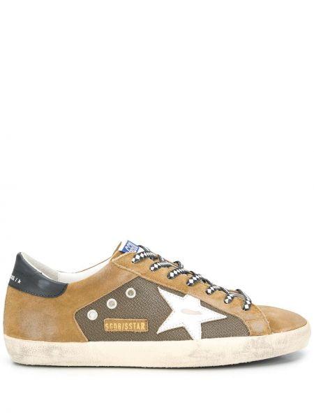 Ażurowy włókienniczy sneakersy z łatami zasznurować Golden Goose