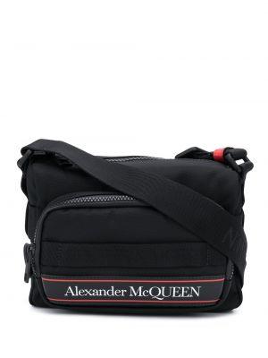 Skórzany torba z logo Alexander Mcqueen