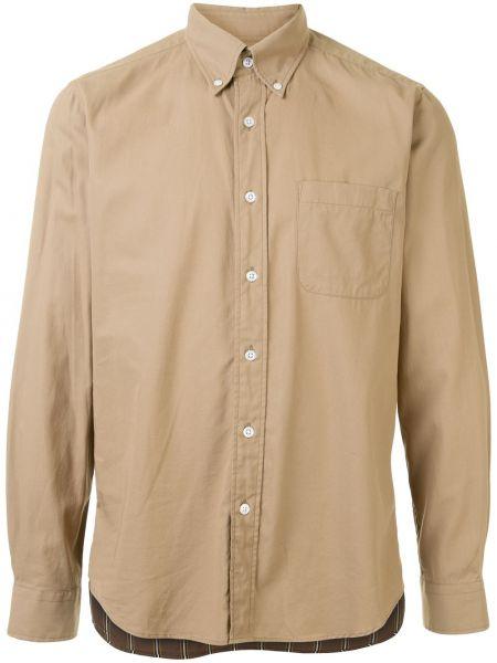 Коричневая рубашка с воротником пэчворк на пуговицах Sophnet.