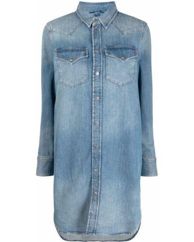 Синее платье макси с длинными рукавами с воротником Diesel