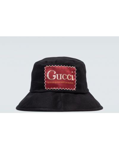 Bawełna bawełna czarny kapelusz z haftem Gucci