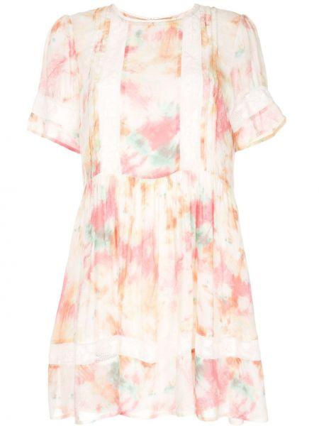 Плиссированное с заниженной талией розовое платье мини со вставками Auguste