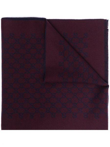 Fioletowy szalik wełniany z printem Gucci