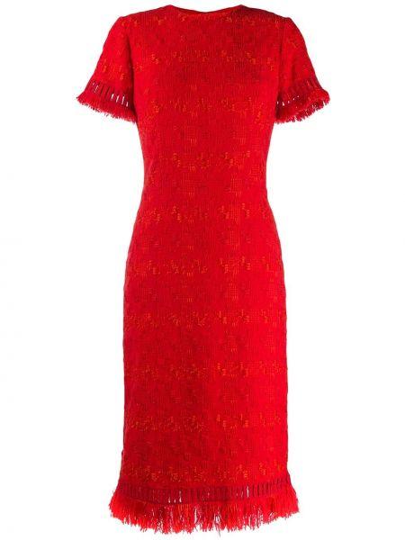 Красное платье мини с вышивкой с вырезом узкого кроя Ermanno Scervino