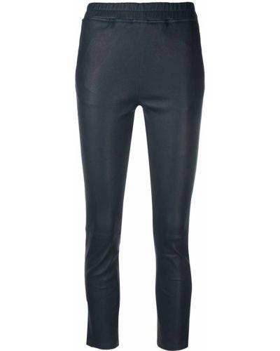 Синие с завышенной талией кожаные укороченные брюки Arma