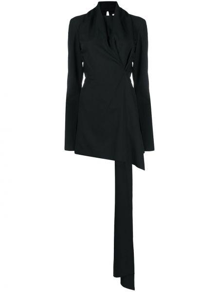 Драповое приталенное платье макси с длинными рукавами с драпировкой Litkovskaya