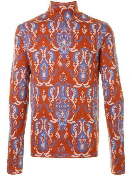 С рукавами шерстяной оранжевый свитер с высоким воротником Wooyoungmi