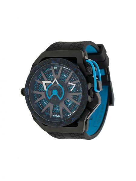 Czarny sport zegarek srebrny klamry Mazzucato