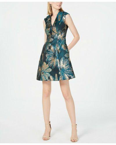 Вечернее платье с принтом - зеленое Vince Camuto