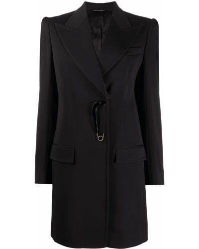 Шерстяное черное пальто с карманами Givenchy