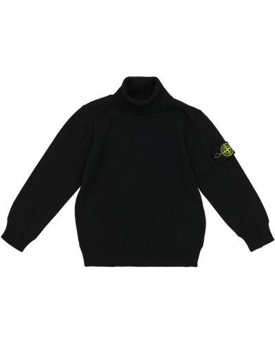 Шерстяной свитер - черный Stone Island Junior