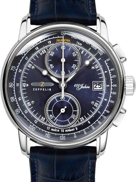 Часы водонепроницаемые с кожаным ремешком Zeppelin