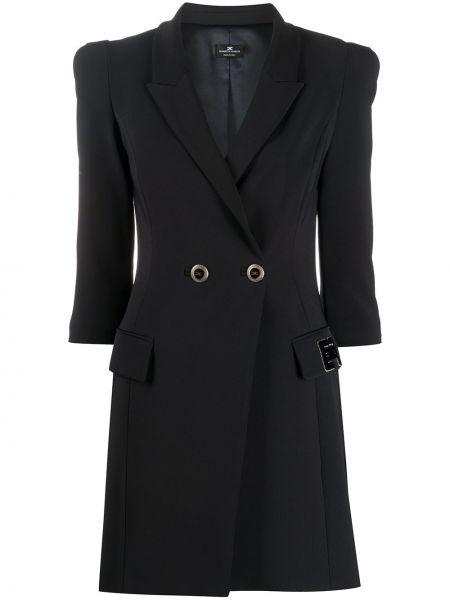 Черное прямое приталенное облегающее платье Elisabetta Franchi