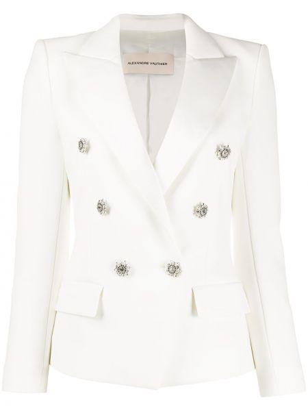 Белый пиджак двубортный на пуговицах Alexandre Vauthier