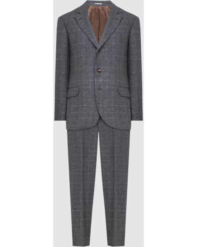 Серый шелковый костюм в клетку Brunello Cucinelli