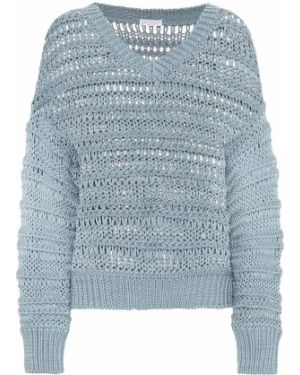 Повседневный ватный хлопковый синий свитер Brunello Cucinelli