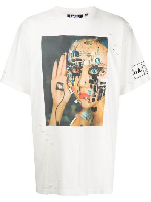 Белая футболка с круглым вырезом Haculla