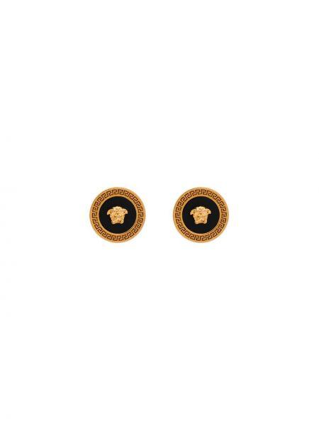 Золотистые серьги-гвоздики золотые металлические Versace