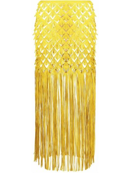 Żółty spódnica midi frędzlami Paskal
