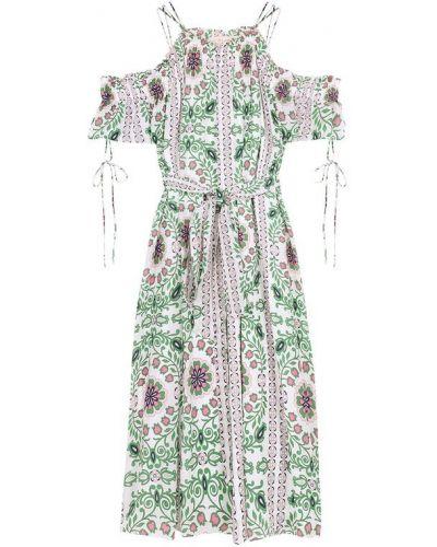 Платье с поясом с цветочным принтом на шнуровке Tory Burch