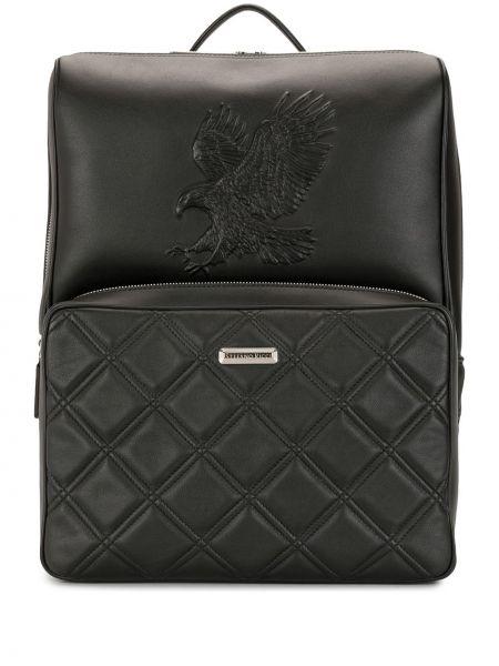Czarny plecak skórzany pikowany Stefano Ricci