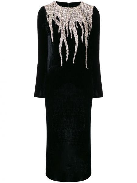 Прямое вечернее платье с вышивкой с длинными рукавами с вырезом Christian Pellizzari