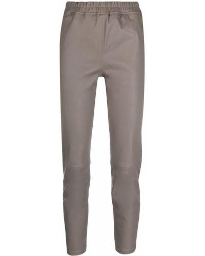 Серые кожаные укороченные брюки с карманами Arma