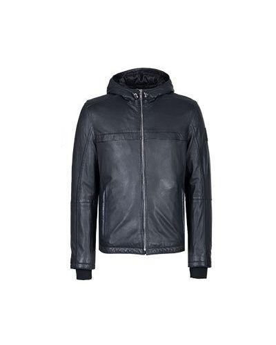 Синяя кожаная куртка Strellson
