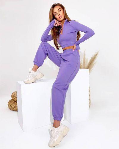 Костюмный фиолетовый спортивный костюм с капюшоном Fusion