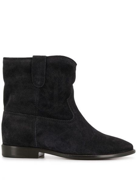 Kowboj buty zamszowe z haftem Isabel Marant