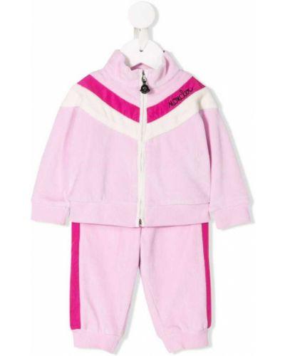 Спортивный костюм розовый в рубчик Moncler Kids
