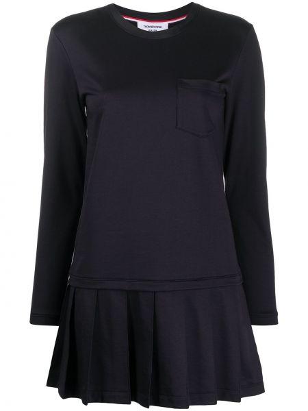 Синее плиссированное с заниженной талией платье с вырезом Thom Browne