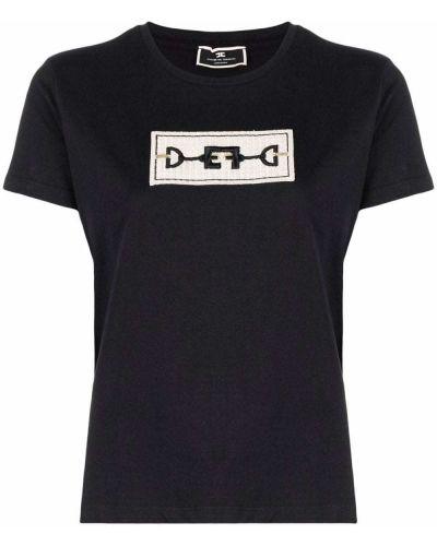 Черная прямая футболка Elisabetta Franchi