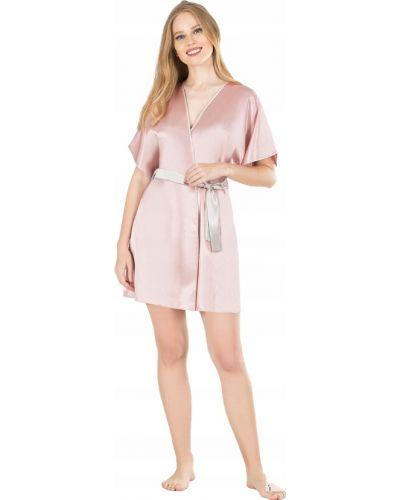 Satyna z rękawami różowy szlafrok z więzami Victoria's Secret