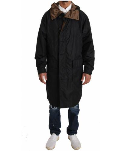 Czarny płaszcz z kapturem z nylonu Dolce And Gabbana